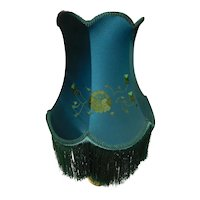 Victorian Style 6-Panel Forest Green Silk Shade with Silk Embroidery with Fringe