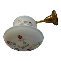 Antique Single Brass Pendant Light Fixture with White Satin Pendant Shade with Embossed multi-color Flowers