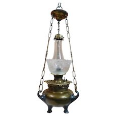 Unusual Hanging Kerosene Lamp with Etched Shade & Brass Smoke Bell