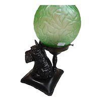 Figural Lamp of Scotty on a Pillow with Green Satin Brain Shade