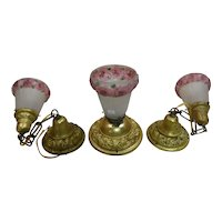 3 Piece Brass Embossed Light Fixture Set with Reverse Painted Shades with Maroon Flowers