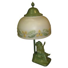 Antique Minstrel Lamp with reverse painted shade