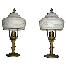 Pair Antique Boudoir Lamps with matching Wedding Cake Shades with Pink-Green design.