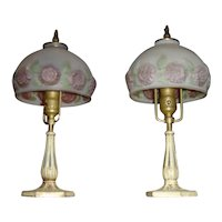 Pair Antique Matching Boudoir Lamps with Reverse Painted Shades
