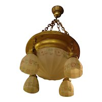 Satin Center Dome Light Fixture with 4 Matching Shades with Reverse Painted