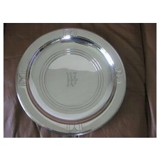 "14"" Wallace Sterling Silver Round Tray or Platter in Rhythm Pattern"