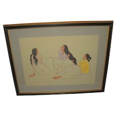 R. C. Gorman Houston Gallery Signed & Numbered Taos Arabesque St. ll Litograph