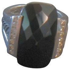 David Yurman Sterling Ring Large Black Onyx & Diamond Ring