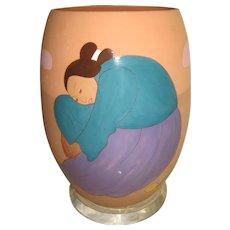"R. C. Gorman Limited Edition Signed & Numbered ""PERAS"" 19"" Ceramic Vase Art"