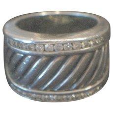 David Yurman .8 ct. Diamond & Sterling Wide Cable Cigar Band m.k Ring