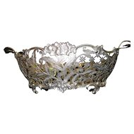 """Kemp Brothers Huge 16"""" by 10"""" Sterling Silver Reticulated Handle Bowl"""