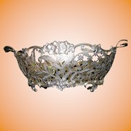 "Kemp Brothers Huge 16"" by 10"" Sterling Silver Reticulated Handle Bowl"