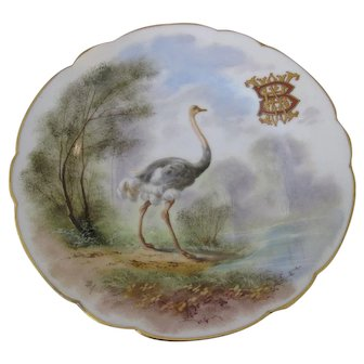 "Antique Hand Painted Mansard Rue Paradis Porcelian China Cabinet Ostrich Plate 9 1/2"""