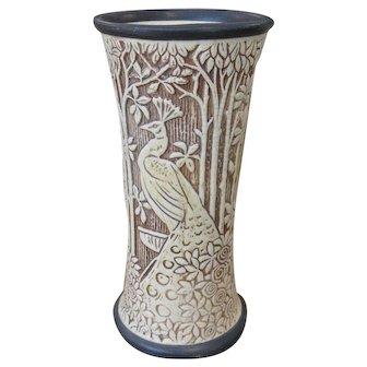 """Vintage WELLER Art Nouveau PEACOCK Floral Ivory KNIFEWOOD Design 9"""" Vase"""