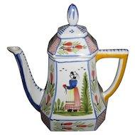"HENRIOT QUIMPER France Blue Minstral 10"" Octangular Coffee Pot"