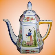 "HENRIOT QUIMPER France Blue Minstral 10"" Octangular Coffee Pot"