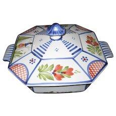 """HENRIOT QUIMPER France Blue Minstral 8"""" Octangular Covered Vegetable Bowl"""