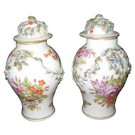 "Antique German Porcelain Meissen Pair of 6"" Covered Vases Applied Flowers"
