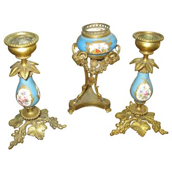 "Antique 3 Piece Sevres 5"" Pair Of Candle Sticks & Rams Head Urn Stand Bronze"