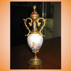 "Antique Bronze Sevres 9"" Hand Painted Porcelian Urn with Bronze"