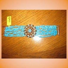 "Beautiful 7 Strand Turquoise Bead 6 3/4"" Bracelet with 14K Medallion"