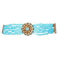 "Beautiful 7 Strand Turquoise Bead 6 3/4"" Bracelet with 14K Medallion"