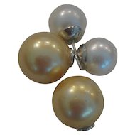 Multicolor South Sea Double Pearl Ear Rings 19mm Gold Pearl 12mm white Peal