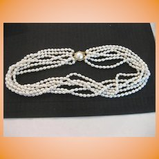 Fresh Water Six Strand Pearl Necklace with 14k Mabe Pearl Clasp