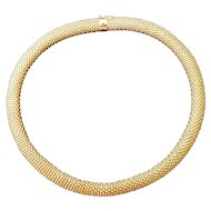 """Huge 20"""" 18k Yellow Gold Mesh Necklace 15mm Wide"""