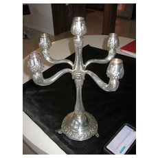 "Decorated 5 Arm 18.5"" Sterling Silver Candelabra signed sk 925 sterling as 31"
