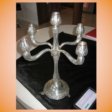 """Decorated 5 Arm 18.5"""" Sterling Silver Candelabra signed sk 925 sterling as 31"""