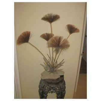 """John Steck 29"""" Sculpture of Desert Flower's or Pom Poms in Copper & Brass"""