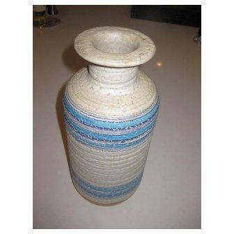 """Rosenthal Netter 12"""" Mid Century Vase in Blue Grey & White Stripes"""