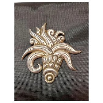 """3 3/4"""" 1940s Taxco Brooch Pin Hector Aguilar 990 Sterling Silver"""