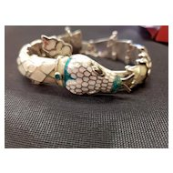 Mexican Taxco Sterling Silver Snake Bracelet with Enamel TF-32