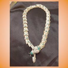Taxco Sterling Silver & Enamel Snake Necklace