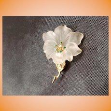 14k Yellow Gold & Crystal Flower by Baumstein & Fender