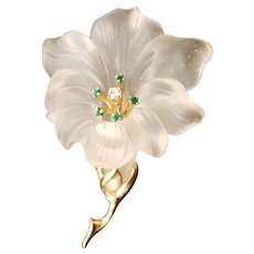 14k Yellow Gold & Crystal Flower by Baumstein & Fender