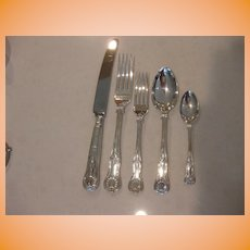 Antique Sheffield Sterling Silver Joseph Rodgers & Sons Star 5 Piece Place Setting Kings Pattern 8 available