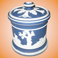 JASPERWARE - Adams Blue & White Hunting Scene Tobacco Jar/Humidor