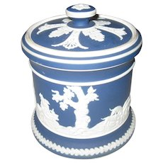 JASPERWARE - Adams Blue & White Hunting Scene Tobacco Jar/Humidor