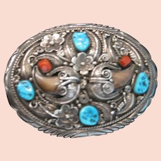 Navajo Silversmith Elsie Yazzie Claw Sterling Silver Belt Buckle