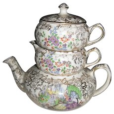 LORD NELSON china POMPADOUR pattern Stacking Teapot