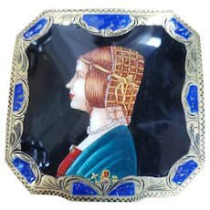 1900 Enamel Compact in 800 silver from Italy
