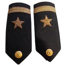 Vintage WW2 U. S. Navy Shoulder Boards Ensign Bullion Thread WW2 USA