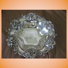 """Woodside Sterling Co sterling silver 9 3/4"""" Bery Bowl with High Relief Orchids"""