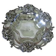 "Woodside Sterling Co sterling silver 9 3/4"" Bery Bowl with High Relief Orchids"