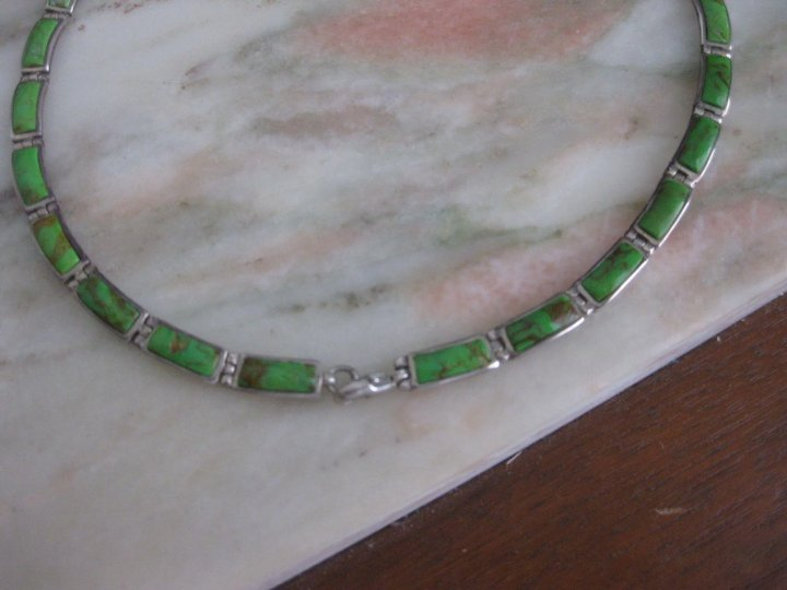 Native American Jewelry Artist Sandel Green Turquoise & Sterling Silver Necklace