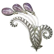1940's Los Castillo Taxco LARGE Cabochon Amethyst, Sterling Silver Pendant/Pin