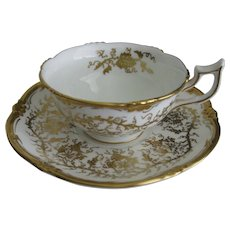 Royal Cauldon Kings Plate Cup and Saucer in White & Heavy Gold Grape pattern